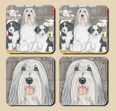 Bearded Collie Rubber Coasters Set of 4