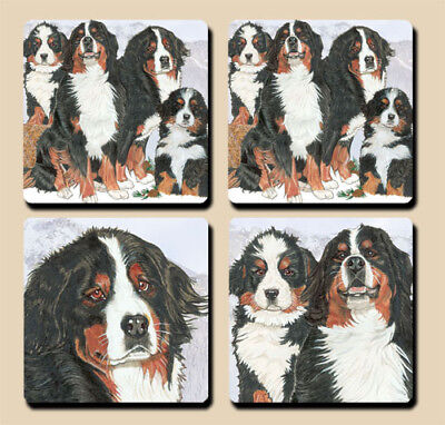 Bernese Mountain Dog Rubber Coasters Set of 4