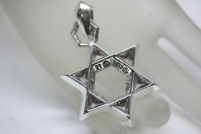 2ab9bd3c6569 CHROME HEARTS Signed 925 STERLING SILVER Star of David Pendant 100% Genuine