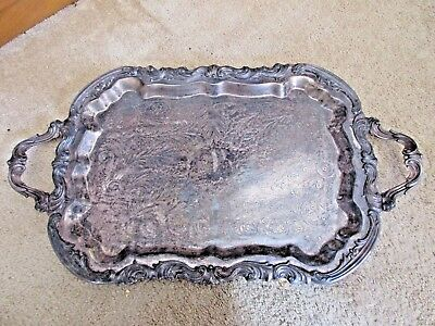 "Antique Fb Rogers Silver Plated 28"" Tray Heavy Large Ornate"