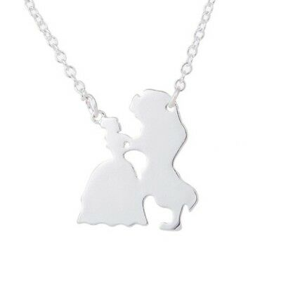 Beauty and the Beast Silhouette Silver Necklace