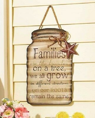 Mason Jar Decor Hanging Rustic Home Living Room Kitchen Country Wall Sign Metal