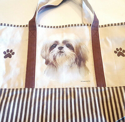Shih Tzu Dog Canvas Tote Bag Pet Shopping Purse Beach Diaper Puppy Travel Carry