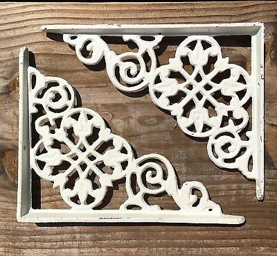 "Set of 2 antique style White Cast Iron Shelf Brackets 7-3/8"" x 5-7/8"" #69"