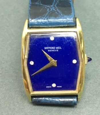 Authentic Vintage RAYMOND WEIL 670-2 Hand Wind Gold Plated Blue DIAL Watch *