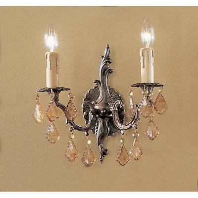 "~ Classic Lighting 5752 AGB AI Antique Italian 11"" Crystal Cast Brass Wallchiere"