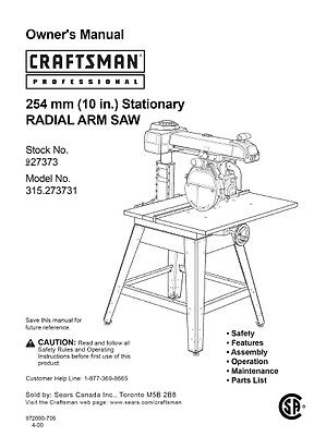 Sears Craftsman 10 in. Stationary RADIAL ARM SAW Model No. 315.273731 manual