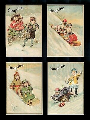 Sledding & Other Winter Activities-Set 4 Victorian Trade Cards-Soap
