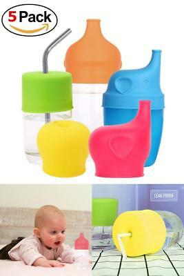 Spill Proof Sippy Cups Lids Silicone Tumbler Baby Toddlers Kids 5 pack Cup Lid