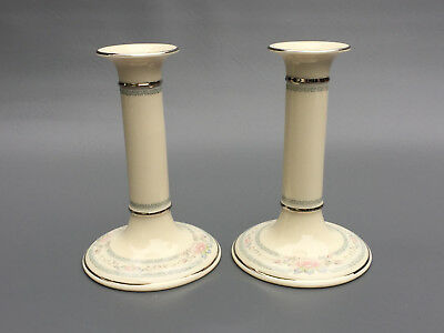 2 Lenox China Co. 7 inch candle holders CHARLESTON 1982 - 2008 made in U.S.A.