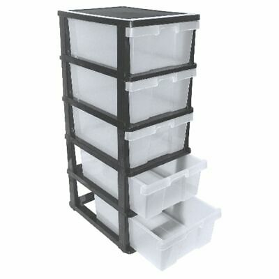 J.Burrows 5 Drawer Cabinet Black and Clear