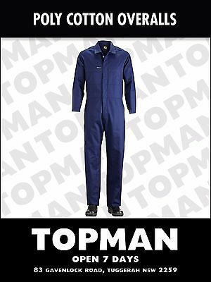 Overall Coverall AU Mens work poly/cotton strong durable Navy WC3058X COVERALLS