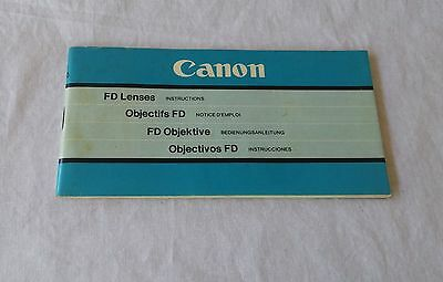 Vintage Canon FD Lenses Instruction Manual - Free Post