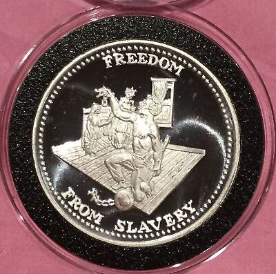 Freedom From Slavery Johnson Matthey JM 1 Troy Oz .999 Fine Silver Ag Round Coin