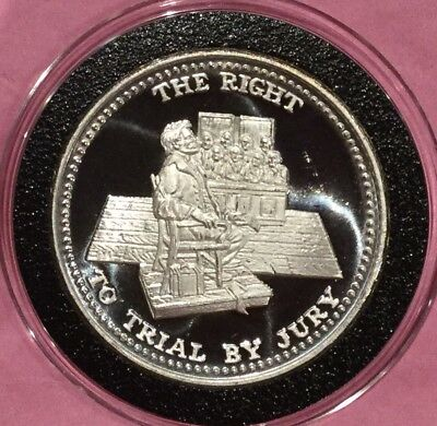Right To Trial By Jury Johnson Matthey JM 1 Troy Oz .999 Fine Silver Round Coin