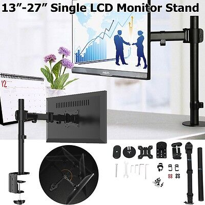 Single Arm Desk Mount LCD LED Monitor Bracket Stand Screen Swivel Quality13-27""