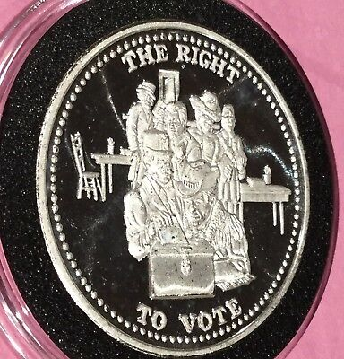 The Right To Vote Johnson Matthey JM 1 Troy Oz .999 Fine Silver Round Coin Medal
