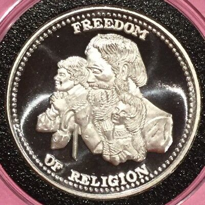 Freedom Of Religion Johnson Matthey JM 1 Troy Oz .999 Fine Silver Round Coin USA