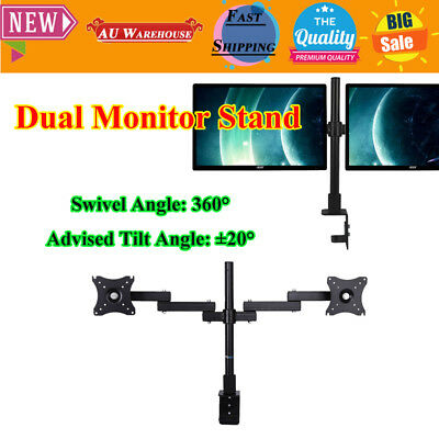 New Dual HD LED Desk Monitor Stand Mount Bracket 2 Arms Holds LCD Screen TV AU