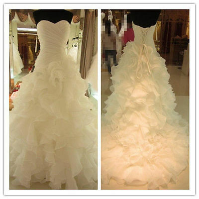 White/Ivory Organza Wedding Dress Bridal Gown STOCK Size 6 8 10 12 14 16 18