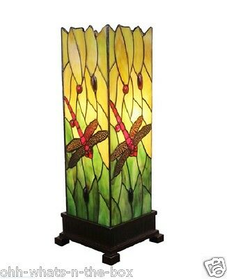 Table Lamp Stained Glass Lighting Tiffany Style Handcrafted Dragonfly Design