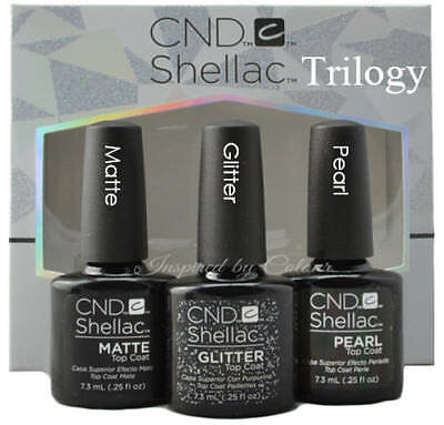 **NEW** CND SHELLAC Alluring Trilogy Top Coat Collection ●PEARL ●MATTE ●GLITTER