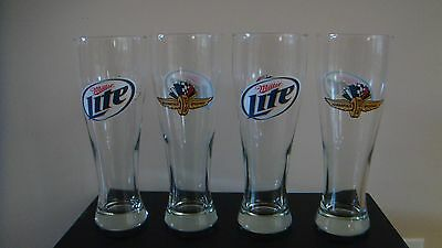IMS Indy 500 Indianapolis Motor Speedway glasses Miller Lite 23 oz. Set of 4