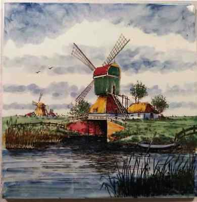 Vintage Delft Hand Painted Ceramic Tile Made in Holland - Windmill Landscape