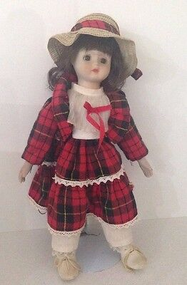 Vintage  Hillview Porcelain  lane doll on metal stand