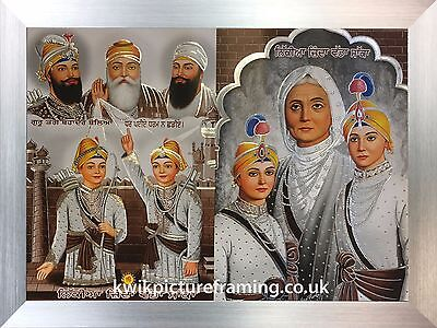 "Chaar Sahibzaade & Mata Gujri & Sikh Gurus Photo Picture Framed 16""X12"" Inches"