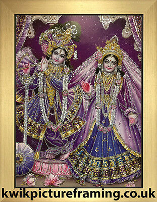"Radha Krishna Bhagwan Govinda Photo Picture Frame Framed Size - 12"" x 10"" Inches"