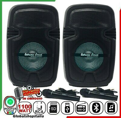 COPPIA DI CASSE AMPLIFICATE 1100 W KIT KARAOKE 2 MICROFONI RCA Mp3 Bluetooth USB