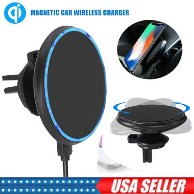 Qi Wireless Car Charger Magnetic Mount Holder For iPhone X/8 Samsung S8 Note 8