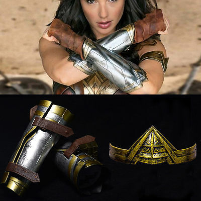 Wonder Woman Diana Bracers Gauntlets Gloves Headwear headband Set Costume Cos