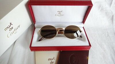 91a54e667b3d Vintage Cartier Giverny Gold   Wood 51 20 Full Set Brown Lens France  Sunglasses