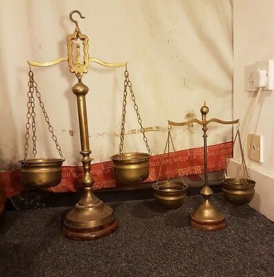 2 Antique Solid Brass Balancing Scales Small & Large from Victorian Loft Find