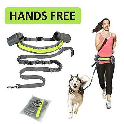 Dog Leash Lead Waist Belt Adjustable Hands Free For Jogging Walking Running FI