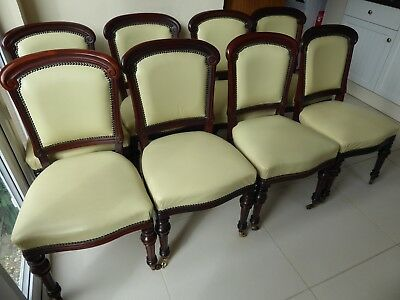 8 VICTORIAN Mahogany Balloon Back Chairs. Restored leather seat and back