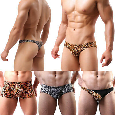 Cool Mens Leopard Print Underwear Boxer Trunks Briefs G-string Shorts Underpants