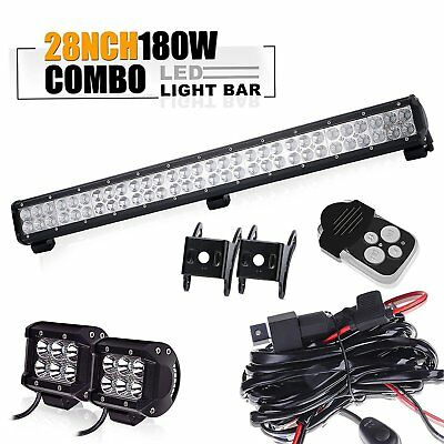 "28""Led Light Bar 4""light+wiring Toyota tacoma chevy silverado titan pathfinder"