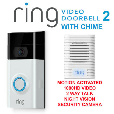 Ring Video Doorbell 2 Motion Detected1080HD Video 2-Way Talk Camera With Chime