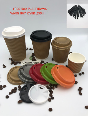 RIPPLE WALL KRAFT Paper Cups Coffee Tea 12oz Disposable LIDS Cold Hot Drinks