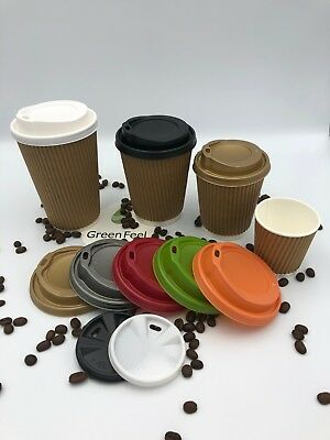 Disposable Kraft Ripple Triple Walled Paper Cups Brown Cups For Coffee With Lids