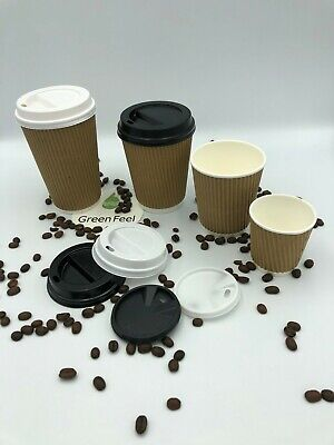 4oz Disposable Espresso Paper Cups KRAFT BLACK RIPPLE WALLED Coffee Hot Drinks