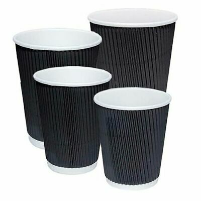 Black Paper Cups Strong Ripple Wall Paper Coffee Cups For Hot Drinks With Lids