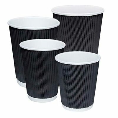Disposable Black Paper Cups Ripple Wall Paper Coffee Cups For Hot Drinks & Lids