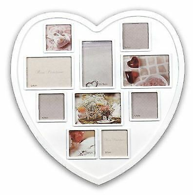 NEW LARGE PHOTO Frame White Hanging Heart Shaped Multi Picture Love ...