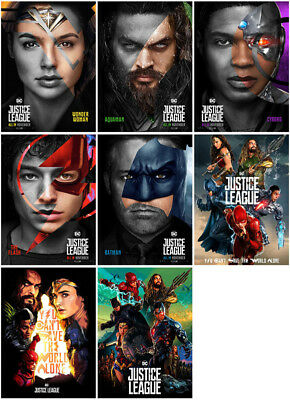 8pc Justice League Movie 2017 Mirror Surface Postcard Promo Card Poster Card H68