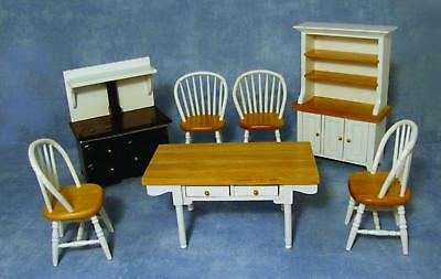 KITCHEN SET 6 pce. PINE & WHITE  1;12TH SCALE DOLLS HOUSE FURNITURE* FREE POST*