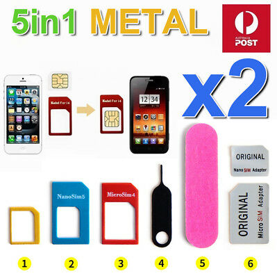 5in1 Pack Nano Micro & Standard SIM Card Adapter For  iPhone 4S Samsung S4 S5 LG
